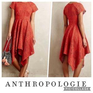 Anthropologie Maeve Orange Prima Lace Dress
